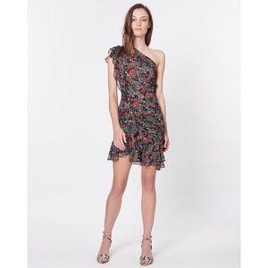 Veronica Beard Ballard One-Shoulder Ruffle Dress 8